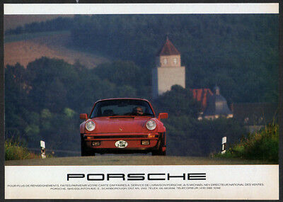 1989 PORSCHE Vintage Original Print AD - Red car photo road germany, canadian ad