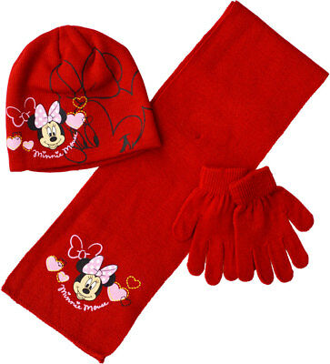 Girls Minnie Mouse Hat Scarf Gloves Set Disney Winter Kids