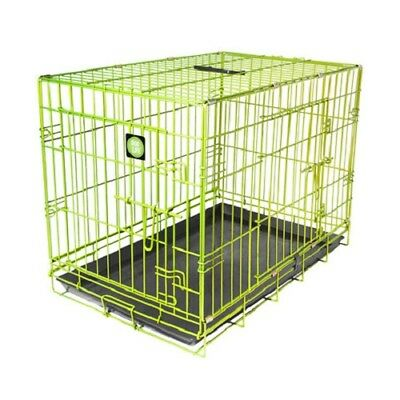 Colour Pop ! Folding Wire Dog Training Crate - Lime Green - 2 Door