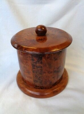 "AUTHENTIC ANTIQUE ""BURL WOOD"" TEA CADDY. Patchwork design. PERFECT CONDITION !!!"