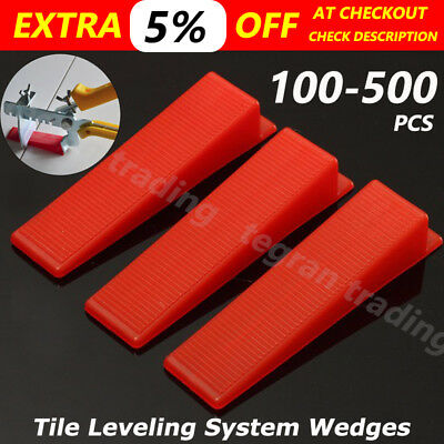 100/200/500× Tile Leveling System Wedges Levelling Spacer Tool Wall Floor Tiling