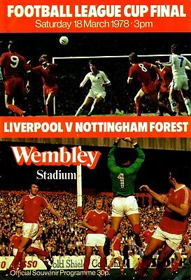 1978 LEAGUE CUP FINAL LIVERPOOL v NOTTINGHAM FOREST