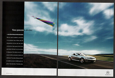 2005 MERCEDES SLK convertible Original Print AD - Silver car photo 2 pages speed