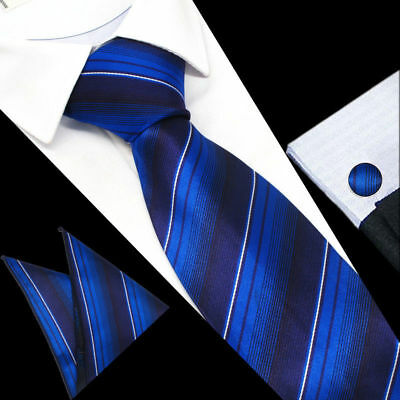 Mens Royal Blue White Stripe Silk Work Tie Handkerchief Hanky Cufflinks GIFT SET