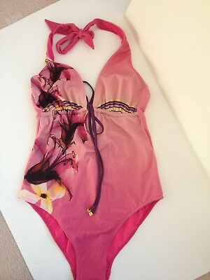 Ted Baker Swimming costume Lily 10 S 2 plum multi Pink halter swimsuit