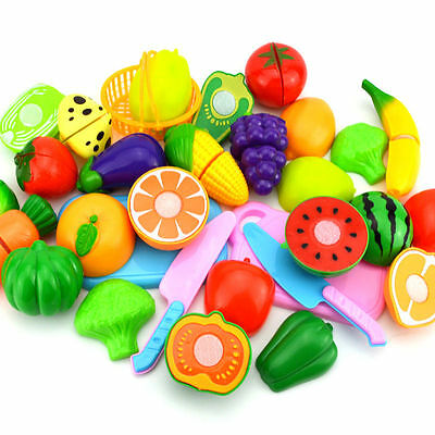 Fruit Role Play Fruit Vegetable Food Cutting Set Reusable New Pretend Kitchen YP
