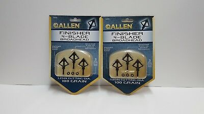 LOT of 2 NIP Allen Finisher 4-Blade Broadhead-100 Grain-Free Shipping