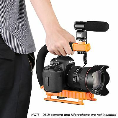 Orange C-Shape Action Handle Bracket w/ Hot Shoe for DSLR Camera Gopro DV Flash