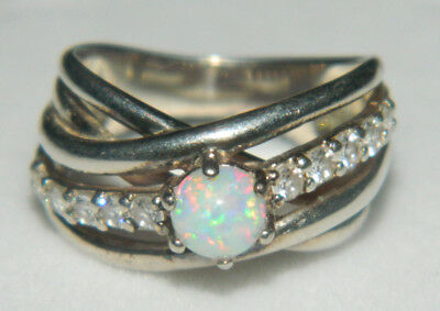 Vintage sterling silver opal and cubic zirconia ring size J