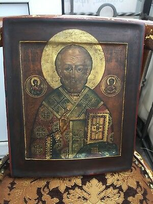 RRR FROLOV Antique Russian wood gold Orthodox Icon St. Nicholas painting Rarity