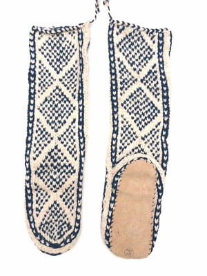 FAIR TRADE hippy WOOL mix HAND knit AFGHAN slipper SOCKS leather SOLE 6-7-8 M98