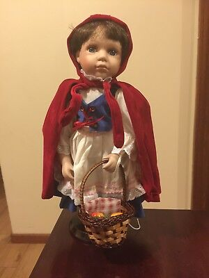 Porcelain Doll On Stand Little Red Riding Hood