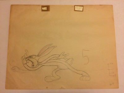 ORIGINAL 1944 WB BUGS BUNNY animation drawing- Rod Sribner directed by Clampett