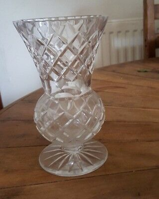 Small cut glass flower vase