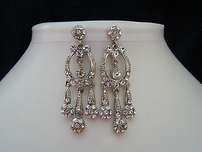 Stylish Chandelier Earrings Clear Crystals Bridal Bridesmaids Earrings E2002