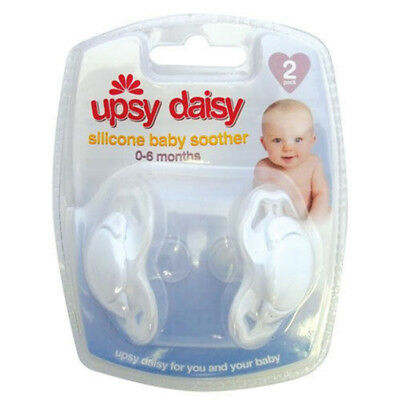 2pk Upsy Daisy Baby Silicone Soothers Dummies Pacifiers 0-6 months Comforter