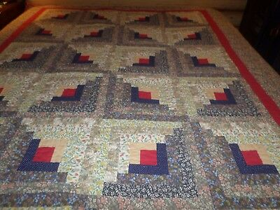 Pretty Homemade Log Cabin Quilt Nice Calico & Red & Blue Accents.Fresh & Clean.
