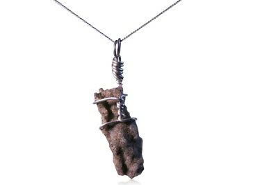 Intriguing  Fulgurite Necklace - Boxed And on Sterling Silver Chain