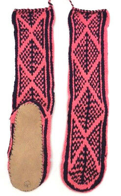 FAIRTRADE wool mix HAND knitted AFGHAN slipper SOCKS leather SOLE size 6-7-8 M93