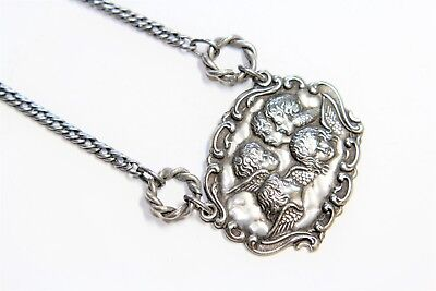 Vintage Art Nouveau Style EPNS Silver Plated Cherubs Angels Necklace (c1930s)