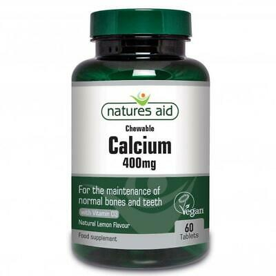 Natures Aid Vegan Calcium Chewable 400mg with Vitamin D3 60 Tablets