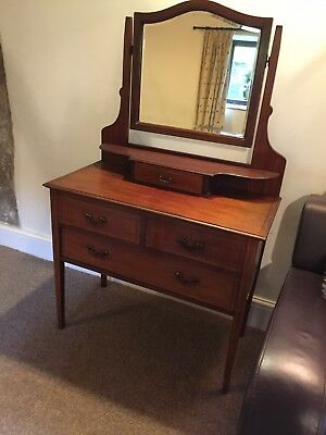 Antique Late Victorian / Edwardian Dressing Table With Mirror