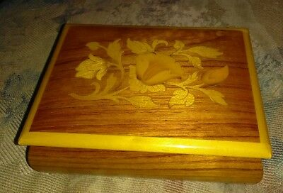 "Vintage Swiss Italian Reuge Inlay Wood Music Box Plays ""moon River"" Song Euc!"