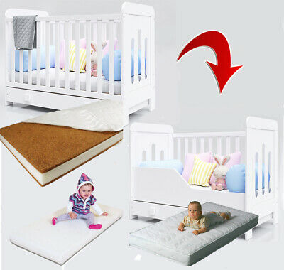 Zuza Wooden Baby Cot / Junior Bed + Drawer + Optional Mattress & Extra Barrier