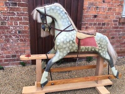 Extra Large Vintage Wooden Rocking Horse Can Store For Christmas