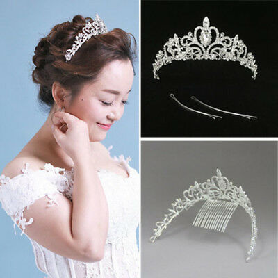 Women Bridal Princess Tiara Crown with Comb for Weddings and Special Occasion