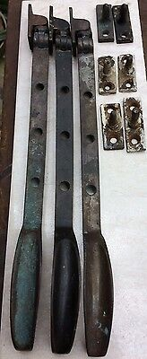 3 Vintage Brass Window Stays with Steel And Brass Catches, length 290mm approx