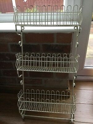 Painted metal, very sturdy, shabby chic wire wall rack