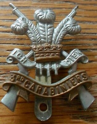 3rd Carabiniers Bi-Metal Cap Badge 1922-1971
