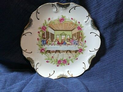 """Last Supper Ceramic Plate Floral Gold Trim Mid-State Products 8"""" Vintage - Japan"""
