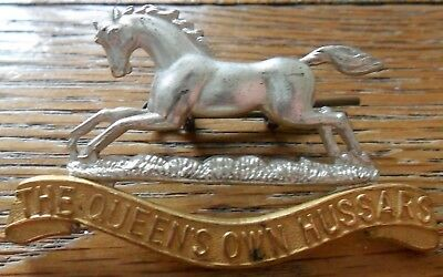 The Queen's Own Hussars Officer's 2 Piece Silvered Cap Badge 1958-1992