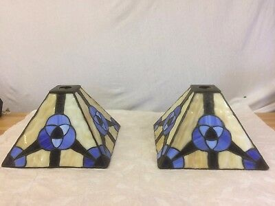 2 Heavy Vintage Arts & Crafts Style Leaded Glass Light Shades