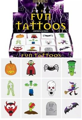 72 Childrens Temporary Tattoos Halloween Kids Loot Party Bag Fillers Pinata 1