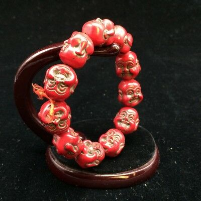 Ancient artificial carved red coral beads bracelet
