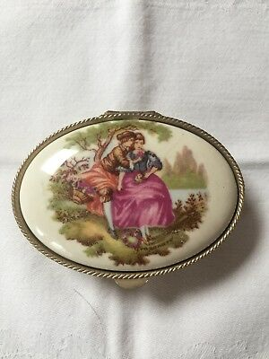 Limoges white metal trinket box with couple on lid