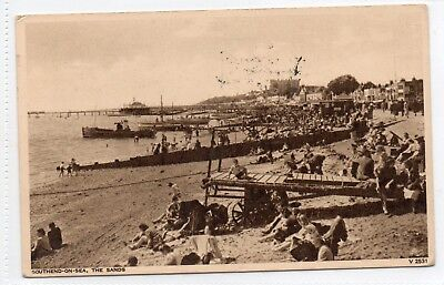 southend on sea postcard. The Sands. people/boats/children