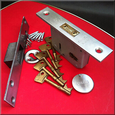 A BS3621 Chubb 5 Lever Mortise Lock, a Boxed Keep,  Five Keys and Keyhole Covers