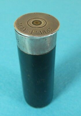 Rare Victorian Sterling Silver Leather Novelty Vesta Case Shotgun Cartridge 1882