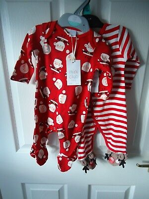 Christmas Babygros 0/3 Months 1 Boots Mini Club BNWT