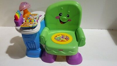 vg cond Fisher PRICE LAUGH & LEARN SONG AND STORY LEARNING MUSICAL CHAIR GREEN