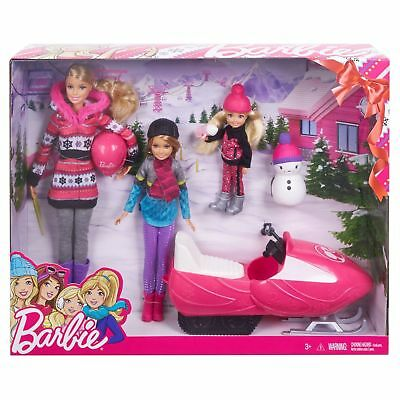 New Mattel Barbie Sisters Snow Fun Gift Set Doll Snowmobile Playset Girls Toy 3+