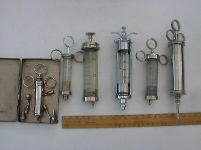 Vintage Collection of 6 Syringes