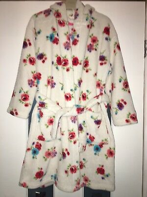 Girls Age 7-8 Years, Next, Fleeced, Hooded, Floral Print Dressing Gown / Robe