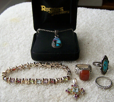 Lot Of Nice Sterling Silver Jewelry All Wearable Rings Necklace Bracelet