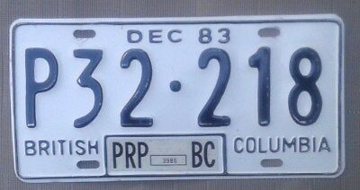 British Columbia 1983 all embossed Prorated License Plate  Tag P32~218 Canada