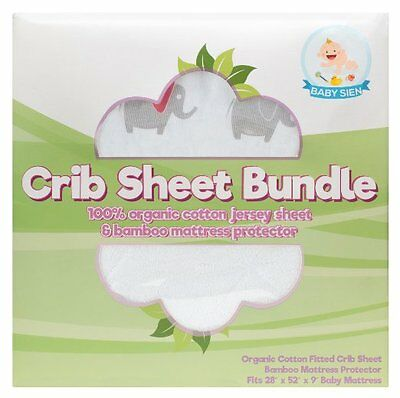 Baby Sien Fitted Crib Sheet+Bamboo Fabric Mattress Protector Combo 100%PureCotto